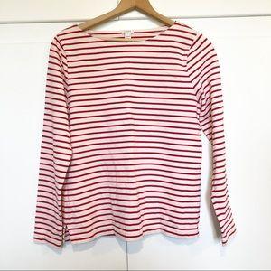 J Crew Long Sleeve Red White Stripe Boat Neck Knit